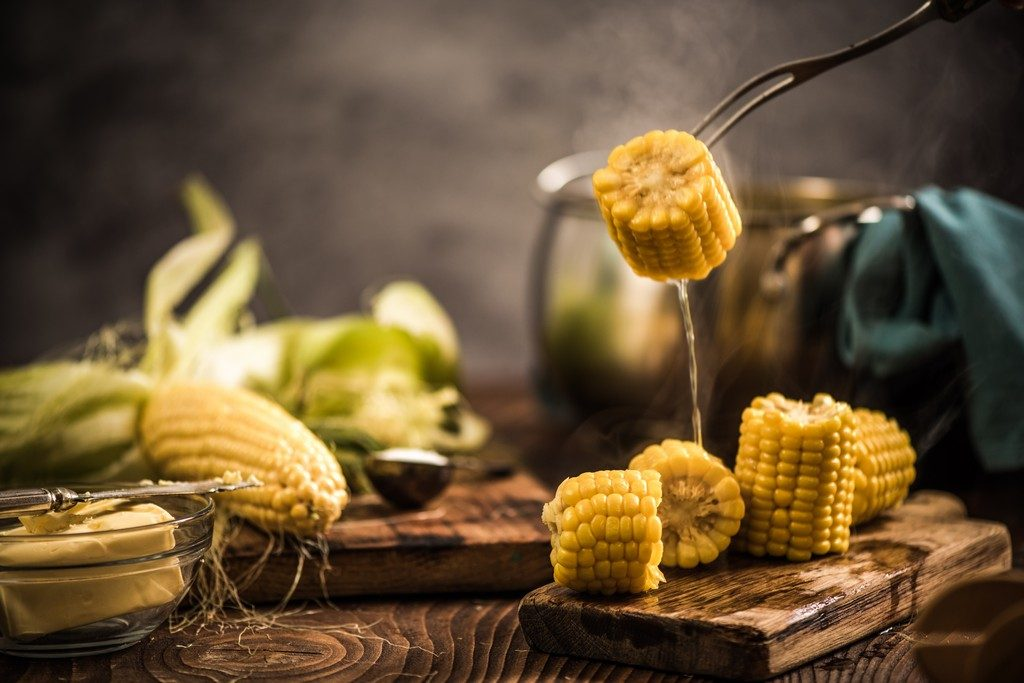 Actual Lifestyle Steaming hot cooked corn