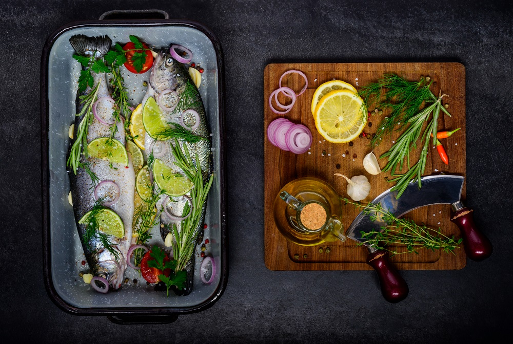 actual lifestyle Fish with Cooking Ingredients